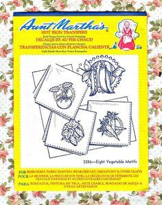 Hot Iron Embroidery Transfers  Eight Vegetable by KeepsakesStudio