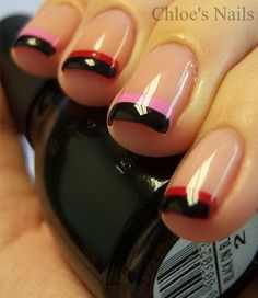 For this I used the brand 10, #415 - Pinky Promise for my base, Sally Hansen Rapid Red and Sally Hansen Pronto Pink on the tips as well as Sinful's Black on Black.