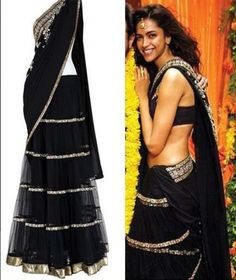 We loved this look! Who wants to look gorgeous in Black like Deepika Padukone? Buy Designer Sarees Online, Party Wear Sarees Online, Half Saree Designs, Saree Shopping, Bollywood Saree, Saree Wedding, Lehenga Choli, Looking Gorgeous, Indian Outfits
