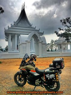Honda CB500x at the white temple in Pattaya Thailand