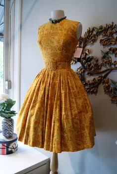 1950s Dress / 50s Dress / Vintage 50s Yellow by xtabayvintage, $198.00