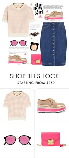 """The new girl #2"" by meryfern ❤ liked on Polyvore featuring Miu Miu, Prada, RetroSuperFuture, Chanel, Furla, Current/Elliott, Pink, miumiu, polyvorecontest and polyvorefashion"