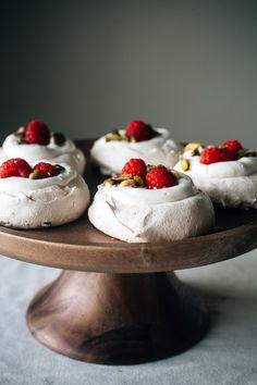 Light and luscious: raspberry-pistachio mini pavlovas.