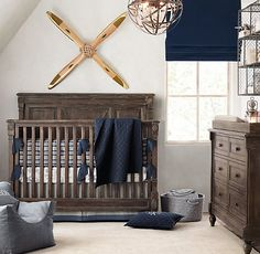 RH baby&child's Tailored Stripe & Vintage Airplane Blueprint Nursery Bedding Collection:Our newest stripe puts a masculine spin on traditional mattress ticking with its boy-friendly palette of bold navy and grey with ivory undertones.