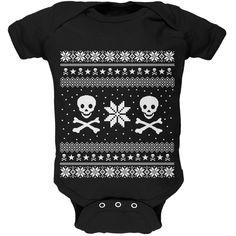 Skull & Crossbones Ugly Christmas Sweater Black Infant Bodysuit | OldGlory.com