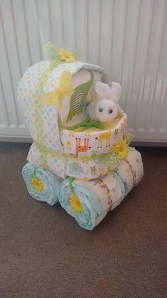 Beautiful Unisex Boy Girl Lemon Pram Baby Nappy Cake Diaper