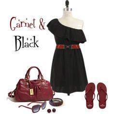 """""""Garnet & Black Game Day Outfit"""" by msamandacall on Polyvore"""
