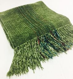 Woven Rayon Chenille Olive Scarf by Claire Perrault