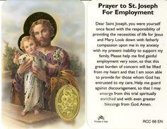 Prayer to Saint Joseph for employment