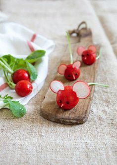 Radish mice... could even use tomatoes for the body. Cute!
