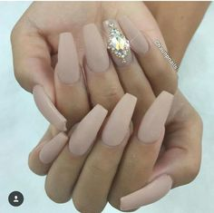 Nude nails, diomonds accent, coffin nails,