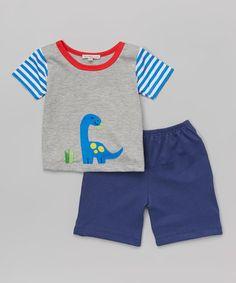 Look at this #zulilyfind! Victoria Kids Silver & Blue Dino Tee & Shorts - Infant & Toddler by Victoria Kids #zulilyfinds