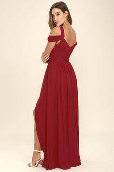LULUS x Bariano Ocean of Elegance Wine Red Maxi Dress 3