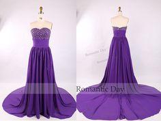 Women Elegant Rhinestone Strapless Purple Sweep Train Evening Dress/Prom Dress/Celebrity Dress/Dress for Wedding/Custom Made 0356