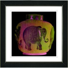 """Studio Works Modern """"Elephant Urn  - Golden Orange"""" by Zhee Singer Framed Graphic Art in Orange Size: 14"""" H x 14"""" W x 1"""" D, Frame Color: Black"""