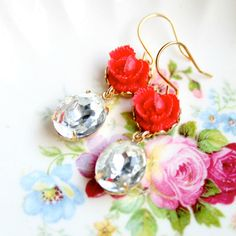 Red Rose and Crystal Earrings by NestPrettyThingsShop on Etsy, $24.00