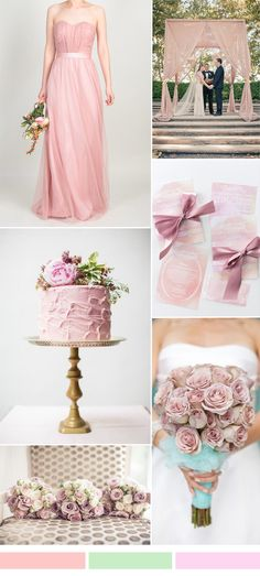 dusty pink wedding color ideas with bridesmaid dress style for spring weddings