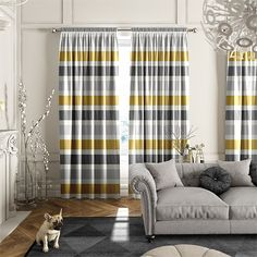 Cardigan Stripe Flax Grey Curtains%20from%20Curtains%202go