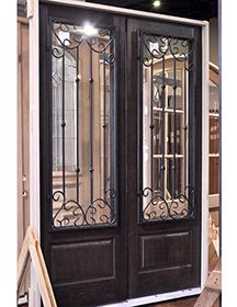 GlassCraft Fiberglass 6080 3/4 Lite Double Door With Valencia Wrought Iron