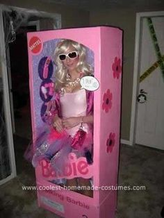 Homemade Barbie in a Box Costume: First, I bought a large wardrobe box from U-Haul for my Homemade Barbie in a Box Costume. The box itself was a little too deep, so I cut it down to size
