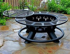 Ranch King Fire Pit with Wood Burning Grill