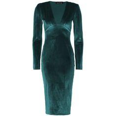 Boohoo Hattie Velvet Plunge Neck Midi Dress ($28) ❤ liked on Polyvore featuring dresses, blue party dress, blue bodycon dress, midi dress, midi cocktail dress and velvet bodycon dress