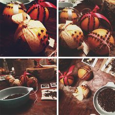 pomanders, oranges studded with cloves