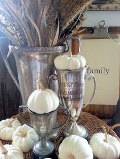 sweet white pumpkins in trophy cups