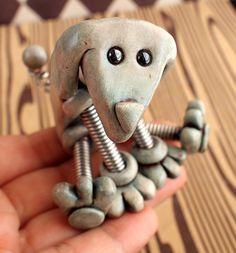 Pale Blue Phil Rustic Mini Robot Dog Sculpture by RobotsAreAwesome, $25.00