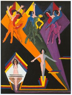 Ernst Ludwig Kirchner - Dancing Girls in Colourful Rays, 1932-1937.
