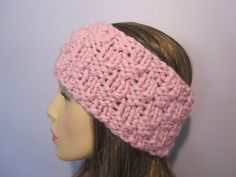 Pink or Pick Your Color Headband Earwarmer Pink by UpNorthKnits