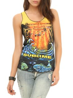 Racer back tank top from Sublime with large sun & ocean sublimation print design on front.