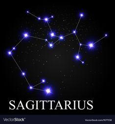Sagittarius Zodiac Sign with Beautiful Bright vector image on VectorStock Virgo And Cancer, Sagittarius Zodiac, Zodiac Constellations, Bright Stars, Roxy, Cosmic, Adobe Illustrator, Zodiac Signs, Astrology