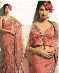 Latest fashion in bollywood style peach colored saree crafted beautifully over net base with Sequins, resham, stone and cutdana work. The lower middle part of pleats is in floral jaal pattern.  Pallu is