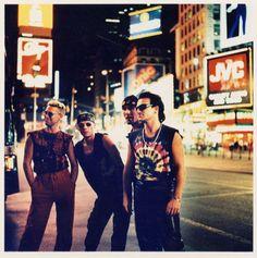 in Times Square Adam Clayton, Dublin, U2 Music, Rock Music, Live Music, Larry Mullen Jr., U2 Zooropa, U2 Achtung Baby, The Edge U2