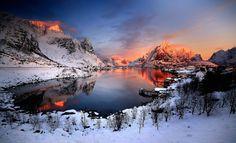 Photographie Hiver Terre/Nature Snow Montagne Lac Village Maison Fond d'écran