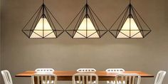 Diamond Iron Birdcage Retro Restaurant Pyramid Pendant Lamp 110-240V Sale-Banggood.com