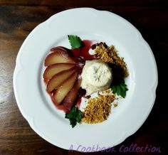 Spiced Poached Pear with Blue Cheese Panna Cotta- A Cookbook Collection