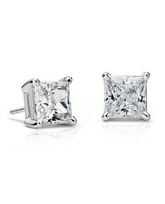 3c2686e8b A stunning matched pair of Blue Nile Signature Ideal princess-cut diamonds,  set in