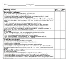 Rubric - Fine Arts Painting: Rubric to use with a High School 2D visual arts or painting class. Includes a space for student reflection and self critique as well as instructor assessment.