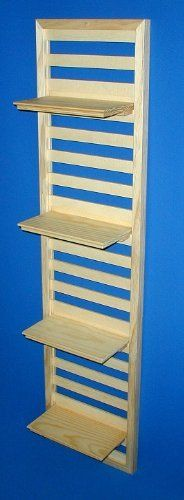 """Wood Wall Shelf - 12"""" Wide x 48"""" High with Four 10"""" Shelves - Unfinished - Made in USA by Shelf Expressions. $32.90. Made in the USA. Wall Support Panel is 12 Inches Wide X 48 Inches High. Four 10 Inch Wide X 5 1/4 Inch Deep Fully Adjustable Shelves. Shelves Install and Adjust Without Tools. Solid Wood - Radiata and Ponderosa Pine. This WALLready Shelf Kit includes a pre-drilled wall mount panel, solid wood shelves, mounting screws and hole caps.  Shelves are fully ad..."""