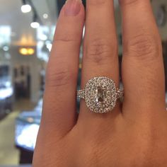 Henri Daussi double halo engagement ring with split shank