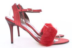 Tyler by Richard Tyler Becky fur and satin Sandal Size 7 NIB – London Couture