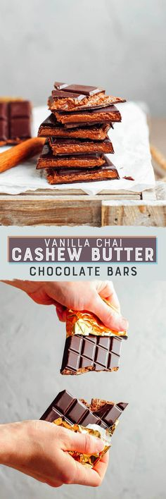 Chocolate bars filled with a sweet and salty chai cashew butter filling! A crispy chocolate shell with a creamy and nutty filling!