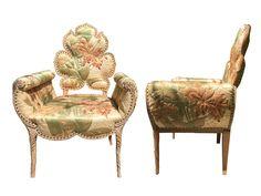 Hollywood Regency Leaf Chairs, Pair