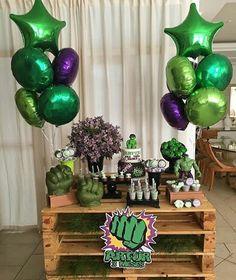 Hulk Birthday Cakes, Hulk Birthday Parties, Superhero Birthday Party, Birthday Party Decorations, 4th Birthday, Hulk Cakes, Hulk Party, Avengers Birthday, Ideas Para Fiestas