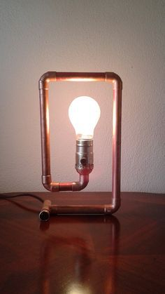 Copper pipe lamp The Spiral by TonyLamps on Etsy