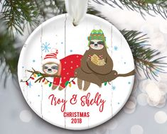 SLOTH COUPLE Christmas Ornament HAND MADE Polymer Clay CAN BE PERSONALIZED