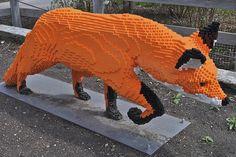 Lego fox sculpture by Scott McLeod