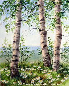 Birch Trio, Original watercolor painting by Varvara Harmon